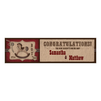 Cowboy Rocking Horse Baby Shower Banner Poster