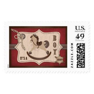 Cowboy Rocking Horse Rustic Baby Shower Postage Stamp