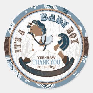 Cowboy Rocking Horse Western Baby Shower Classic Round Sticker