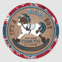 Cowboy Rocking Horse Western Baby Shower Classic Round Sticker