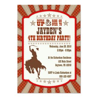 "Cowboy Rodeo 4th Birthday Party Invitation 5"" X 7"" Invitation Card"