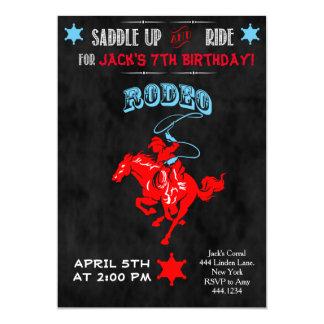 "Cowboy Rodeo Birthday Party Invitations 5"" X 7"" Invitation Card"