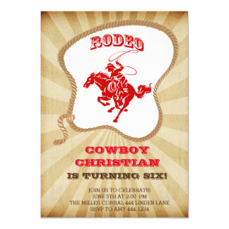 Cowboy Rodeo Birthday Party Invitations