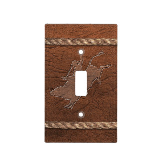 Cowboy / Rodeo - Bull Rider, Leather & Rope Light Switch Cover