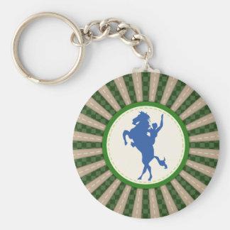 Cowboy Rodeo Green Blue Basic Round Button Keychain