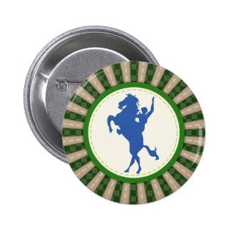 Cowboy Rodeo Green Blue 2 Inch Round Button
