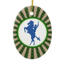 Cowboy Rodeo Green Blue Ceramic Ornament