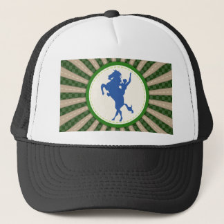 Cowboy Rodeo Green Blue Trucker Hat