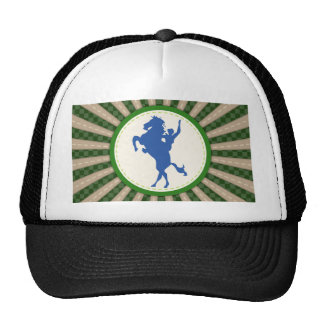 Cowboy Rodeo Green Blue Trucker Hat