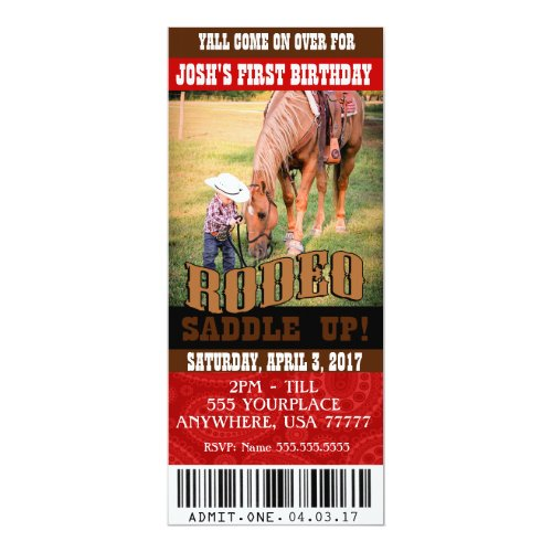 Cowboy Rodeo Invitations envelopes included Invitation