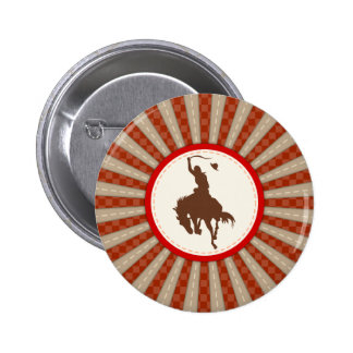 Cowboy Rodeo Red Brown 2 Inch Round Button