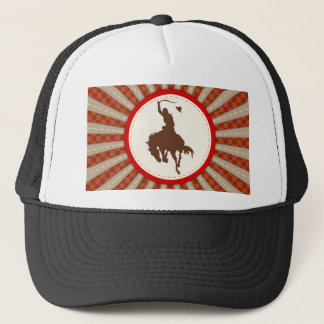 Cowboy Rodeo Red Brown Trucker Hat