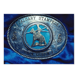 Cowboy rodeo trophy buckle, Alberta, Canada Personalized Announcement