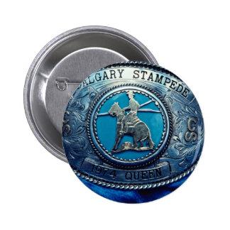 Cowboy rodeo trophy buckle, Alberta, Canada Pinback Button