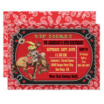 Cowboy Rodeo Western Birthday party Invitation