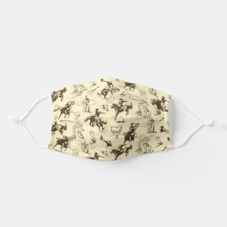 Cowboy Rodeo Western Horses Pattern Cloth Face Mask