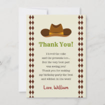 Cowboy Rodeo Wild West Kids Boys Birthday Party Thank You Card