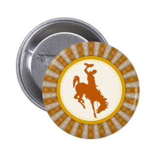 Cowboy Rodeo Yellow Gold 2 Inch Round Button