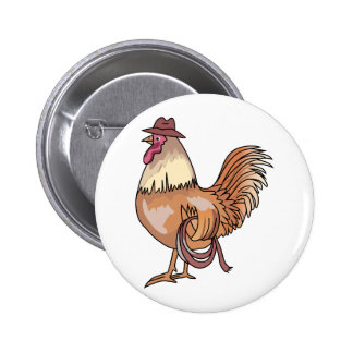 COWBOY ROOSTER PINBACK BUTTON