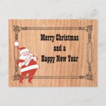Cowboy Rope Frame and Santa Holiday Postcard