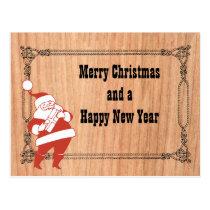 Cowboy Rope Frame and Santa Postcard
