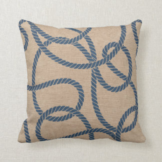 Cowboy Rope Pattern in Tan and Blue Throw Pillows