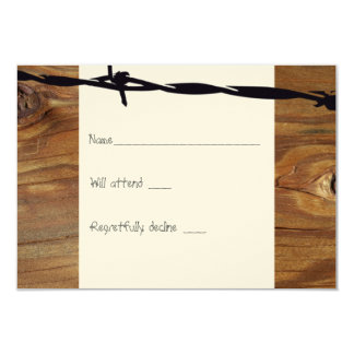 Cowboy Rope Wood and Barbwire rsvp Card