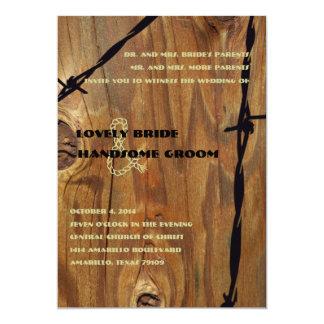 Cowboy Rope Wood and Barbwire Wedding Invitation