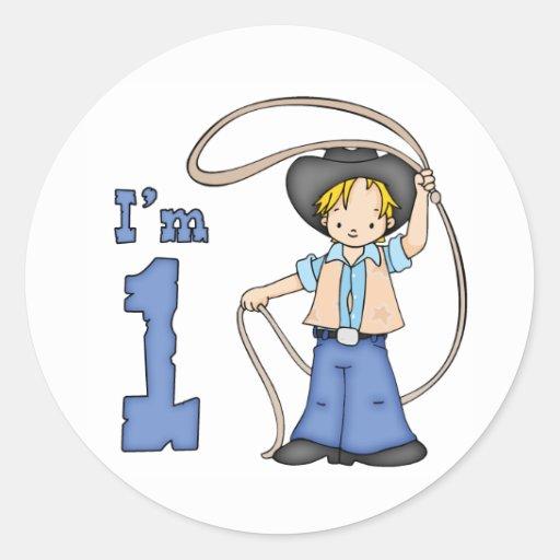Cowboy Roper 1st Birthday Classic Round Sticker