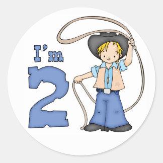 Cowboy Roper 2nd Birthday Classic Round Sticker