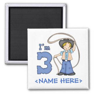 Cowboy Roper 3rd Birthday 2 Inch Square Magnet