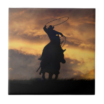 Cowboy Roping Art Tile