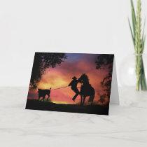 Cowboy Roping Birthday Card