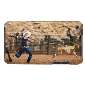 Cowboy roping calf in rodeo Case-Mate iPod touch case