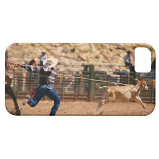 Cowboy roping calf in rodeo iPhone SE/5/5s case
