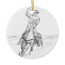 Cowboy Roping Ceramic Ornament
