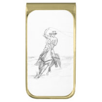 Cowboy Roping Gold Finish Money Clip