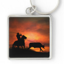 Cowboy Roping Key Chain