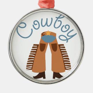 Cowboy Round Metal Christmas Ornament