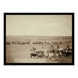 Cowboy Round-Up at Belle Fouche SD 1887 Poster