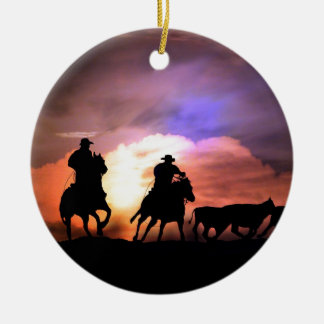 Cowboy round up/ cattle drive christmas ornament