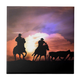 Cowboy round up/ cattle drive tile