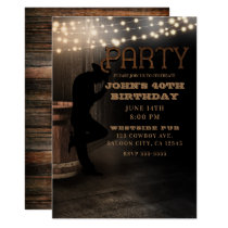 Cowboy Rustic Country Saloon Pub Birthday Party Invitation