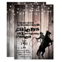 Cowboy Rustic Wood Barn Country 1st Birthday Party Invitation