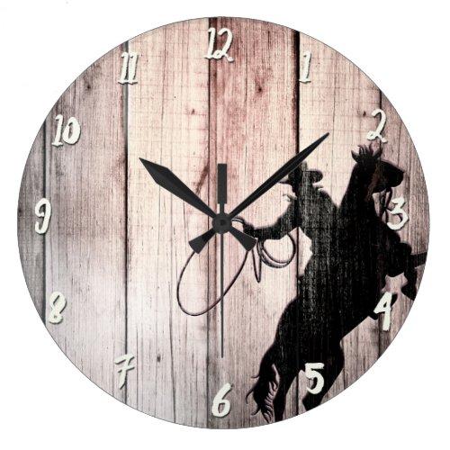 Cowboy Rustic Wood Wild West Clock