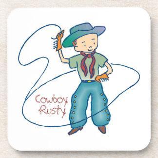 Cowboy Rusty Rodeo Lasso Tricks Beverage Coaster