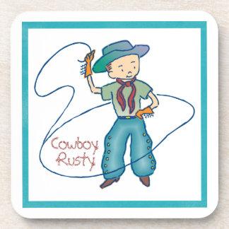 Cowboy Rusty Rodeo Lasso Tricks Drink Coaster