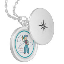 Cowboy Rusty Rodeo Lasso Tricks round Locket Necklace