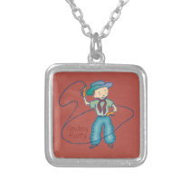 Cowboy Rusty Rodeo Lasso Tricks square Silver Plated Necklace