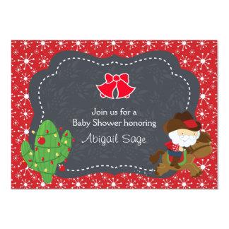 Cowboy Santa and Horse Holiday Baby Shower Invite